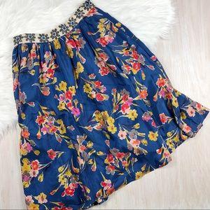 Edme & Esyllte Blue Floral A Line Skirt